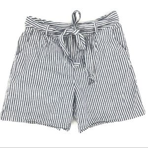 Boden High Waisted Shorts Blue White Stripes